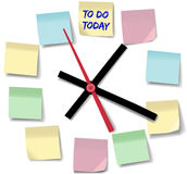 Note memos busy day time clock. Post daily to do list schedule on memo notes on time clock stock illustration