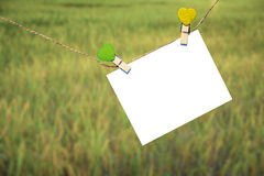 Note Message hanging on a clothesline Stock Photography