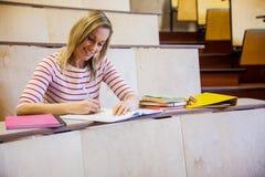 Note messe a fuoco di scrittura della studentessa Fotografie Stock Libere da Diritti