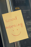 Note on the microwave. good Morning Royalty Free Stock Photo