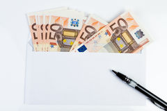 Note and money. Notes and money to be delivered ASAP Stock Image