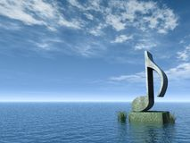 Note monument. Musical note monument at the ocean - 3d illustration Royalty Free Stock Photos
