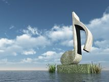 Note monument. Musical note monument at the ocean - 3d illustration Royalty Free Stock Images