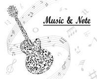 Note and music. Silhouette violin note and music Stock Photo