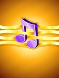 Note musical symbol interlaced by gold ribbon. Illustration Stock Photo