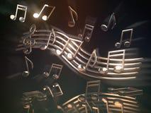 Note musicali e chiave dorate sullo strato Sedere musicali astratte Fotografia Stock Libera da Diritti