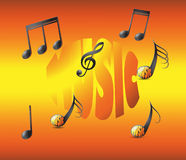 Note musicali su fondo soleggiato vivo Fotografia Stock