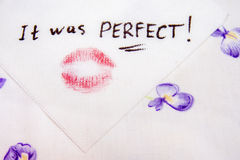 Note on napkin It was perfect Royalty Free Stock Image