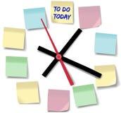 Note o relógio de ponto ocupado do dia dos memorandos Foto de Stock
