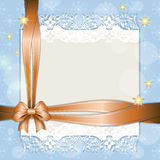 Note with orange ribbon for your text Stock Photo