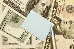 Note Over American Dollar Banknotes Stock Photo