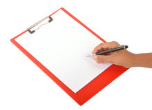 Note pad. Hand writing on the note pad on isolated background Stock Image