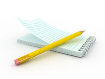 Note pad. 3d blank paper-note pad with pen Stock Photography