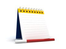 Note pad. 3d blank paper-note pad with colour pencil Royalty Free Stock Photo