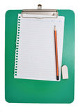 Note Pad. White note pad on green script board Stock Photography
