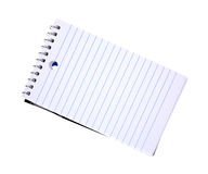Note Pad. An angle view of a small spiral blue and white striped note pad Royalty Free Stock Photography