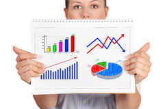 Note pad with business chart Royalty Free Stock Photography