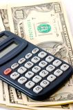Note pad with calculator and cheque book and cash. Check book royalty free stock image