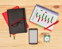 Note pad with drawing profit and cost chart Royalty Free Stock Photo