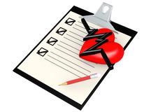 Note pad with heart Stock Photo