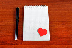 Note Pad with Heart Shape Stock Photography
