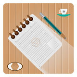 Note Pad Icon. Notepad with pencil, coffee mug and breakfast with Vector illustration Royalty Free Stock Photo