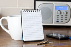 Note pad and keys Stock Photography