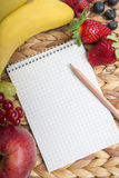 Note pad with pen framed by fresh fruit Royalty Free Stock Photos