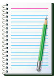 Note pad with pencil. Vector illustration of note pad with pencil Stock Image
