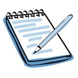 Note pad and pencil icon vector Stock Photos