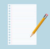 Note pad and pencil. Illustration of houses on white background Royalty Free Stock Photo