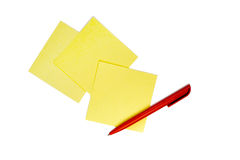 Note Pad and Red Pen. Write Note and Red Pen. On White Background Royalty Free Stock Image