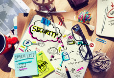Note Pad and Security Concept Stock Photo