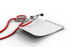 Note pad with stethoscope Royalty Free Stock Photography