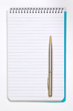 Note Pad With White Pages and Pen Stock Photography