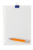 Note pad witn clips and pencil Stock Image