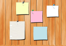 Note pad on wood wall background. Vector Royalty Free Stock Photo