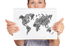 Note pad with world map Royalty Free Stock Photos
