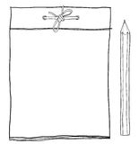 Note pad and  yellow pencil cute lineart illustration Stock Photography