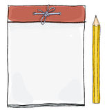Note pad and  yellow pencil  illustration Stock Images