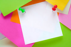 Note paper. For messages, colored stickers royalty free stock photos