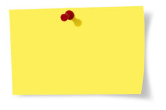Note paper. Yellow note paper over white background royalty free stock images