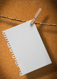 Note paper. Close up of note pad and clothespins attached to a rope on cork board background Stock Photos