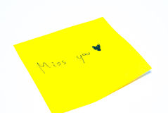 Note paper. Yellow Note paper with white background Stock Photo