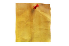 Note paper. Wrinkled brown note paper on white background royalty free stock photos