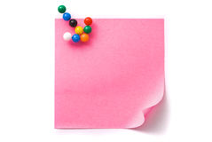 Note paper with an arrow from pins. Royalty Free Stock Photos