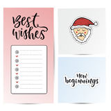 Note paper for best wishes . New year sticky notes. New Year decoration and santa claus. New beginnings calligraphy Stock Photos