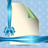 Note paper and bow for your message  Royalty Free Stock Photos