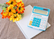 Note paper  with calculator Stock Photo