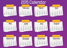 2015- Note Paper Calendar. 2015 note paper calendar in us style, start on sunday, each month with individual table vector illustration